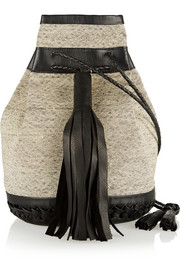 Wendy Nichol + Vanderhurd Bullet leather-trimmed silk-dhurrie bucket bag