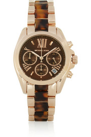 Michael Kors Bradshaw rose gold-tone stainless steel and acetate chronograph watch