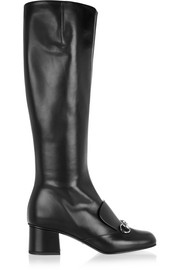 Horsebit-detailed leather knee boots