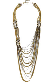 Erickson Beamon Glenda gold-plated, Swarovski crystal and faux pearl necklace