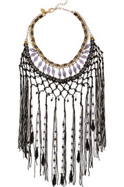 Erickson Beamon Chinoiserie gold-plated Swarovski crystal fringed necklace