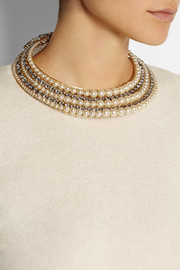 Erickson Beamon Stratosphere gold-plated, Swarovski crystal and glass pearl necklace