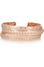 Arme De L'Amour Set of three rose gold-plated cuffs