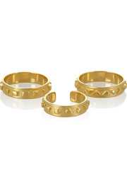 Arme De L'Amour Set of three gold-plated rings