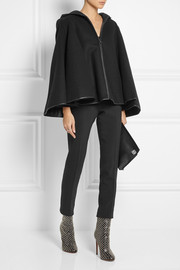 Gareth Pugh Hooded leather-trimmed wool cape