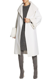 Gareth Pugh Oversized leather-trimmed wool coat