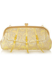 Miu Miu Satin-trimmed metallic jacquard clutch