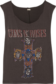 Finds + MadeWorn Guns N' Roses distressed cotton-jersey tank