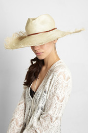 Finds + Hatmaker Gabon leather-trimmed straw wide-brim hat