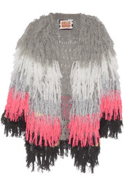 + CeliaB Tina fringed crochet-knit jacket