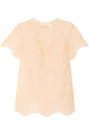 Karla Spetic Embroidered cotton-blend organza top