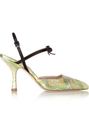 Miu Miu Satin-trimmed metallic brocade Mary Jane pumps