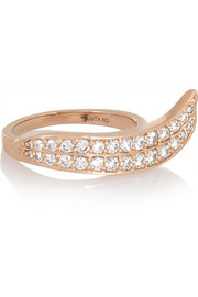 Wave 18-karat rose gold diamond ring