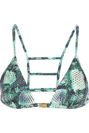 Skin Stairs printed triangle bikini top