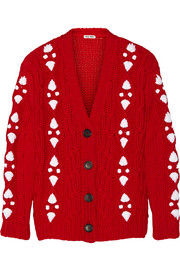 Miu Miu Cable-knit wool cardigan