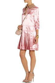 Miu Miu Pleated satin shirt dress