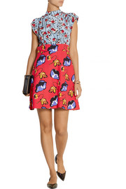 Miu Miu Printed silk and cady mini dress