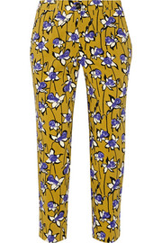 Miu Miu Printed stretch-wool gabardine tapered pants