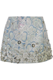 Embellished metallic jacquard mini skirt
