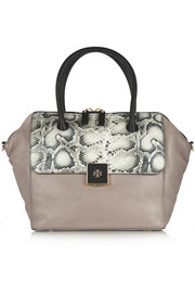 Tory Burch Clara snake-effect and textured-leather tote