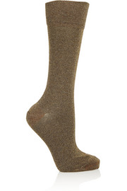 Yiley metallic stretch-jersey socks