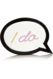 I Do I Don't Speech Bubble leather clutch
