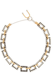 + URiBE Nico enameled rhodium-plated and gold-plated necklace