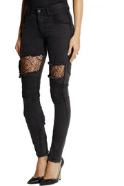 Finds + Vinti Andrews lace-paneled mid-rise skinny jeans