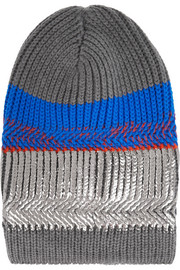 + Eleven Everything metallic striped merino wool beanie