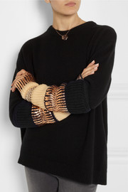 Finds + Eleven Everything foil-print merino wool fingerless gloves