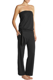 Back Label Cotton-blend jersey jumpsuit