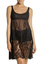 Rosamosario Lovissimo silk-georgette and Chantilly lace chemise