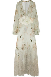 Lace-trimmed printed silk-chiffon robe