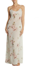 Lace-trimmed floral-print silk-chiffon chemise