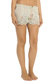 Rosamosario Lace-trimmed printed silk-chiffon briefs