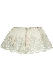 Lace-trimmed printed silk-chiffon briefs