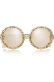 Finds + Karen Walker Orbit Filigree round-frame glitter-finished acetate sunglasses
