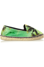 Manebi Wild Palms printed canvas espadrilles