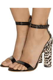 J.Crew + Sophia Webster Nicole patent-leather and calf hair sandals