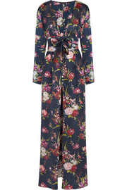 Deep Water floral-print silk-satin robe