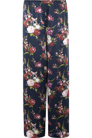 Deep Water floral-print silk-satin pajama pants