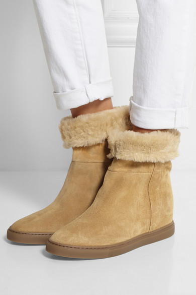common projects faux shearling lined suede wedge ankle