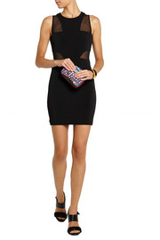 Elizabeth and James Gwen mesh-paneled stretch-jersey mini dress