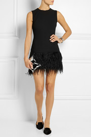 Elizabeth and James India feather-trimmed stretch-ponte mini dress