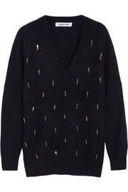Elizabeth and James Crystal-embellished angora-blend sweater