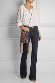 Tory Burch Embroidered linen shoulder bag