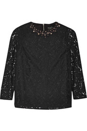 Needle & Thread Crystal-embellished guipure lace top