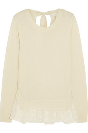 CLU Embroidered silk voile-trimmed cashmere sweater