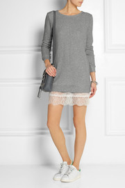 CLU Lace-trimmed cotton-blend terry mini dress
