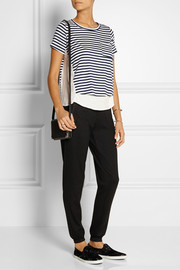 CLU Paneled stretch-jersey and washed-crepe top